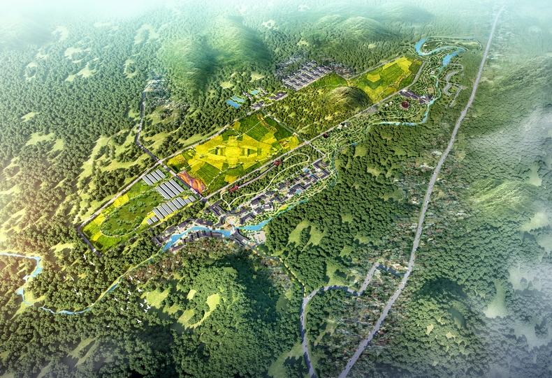 广东(英德)百担洞生态农业旅游基地鸟瞰