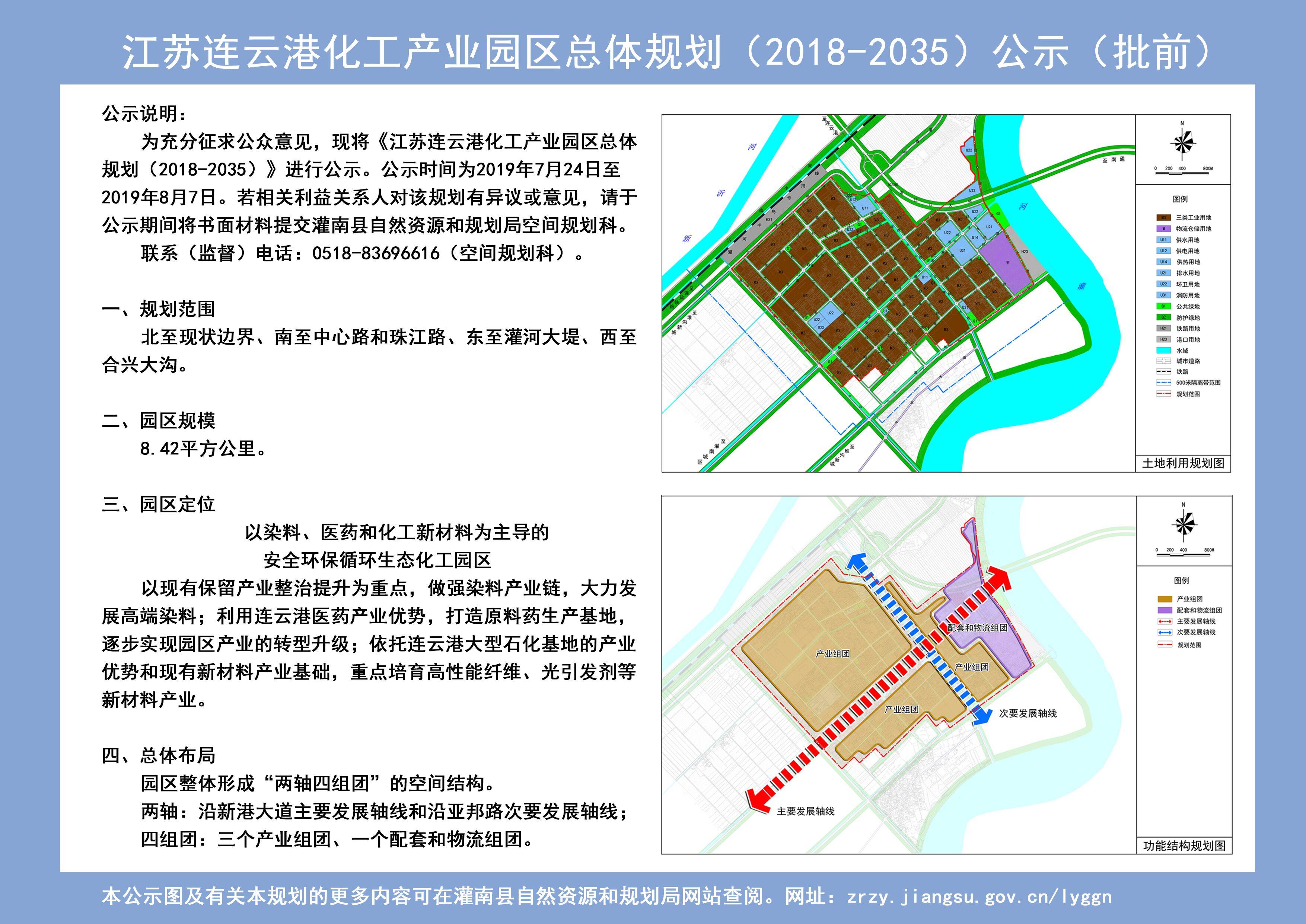 江苏连云港化工产业园区总体规划(2018-2035)公示(批前)